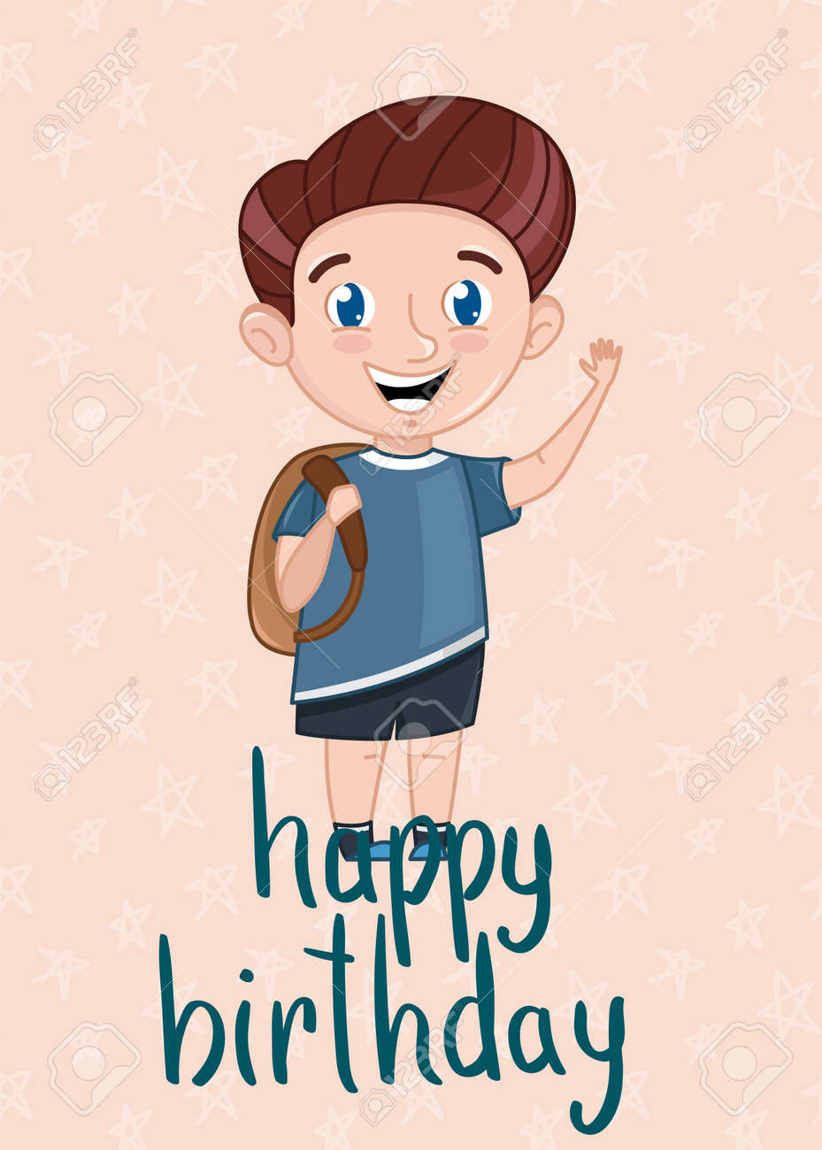 Happy Birthday Kids Postcard Template With Smiling Little Boy. Cute  Greeting Card, Event Invitation