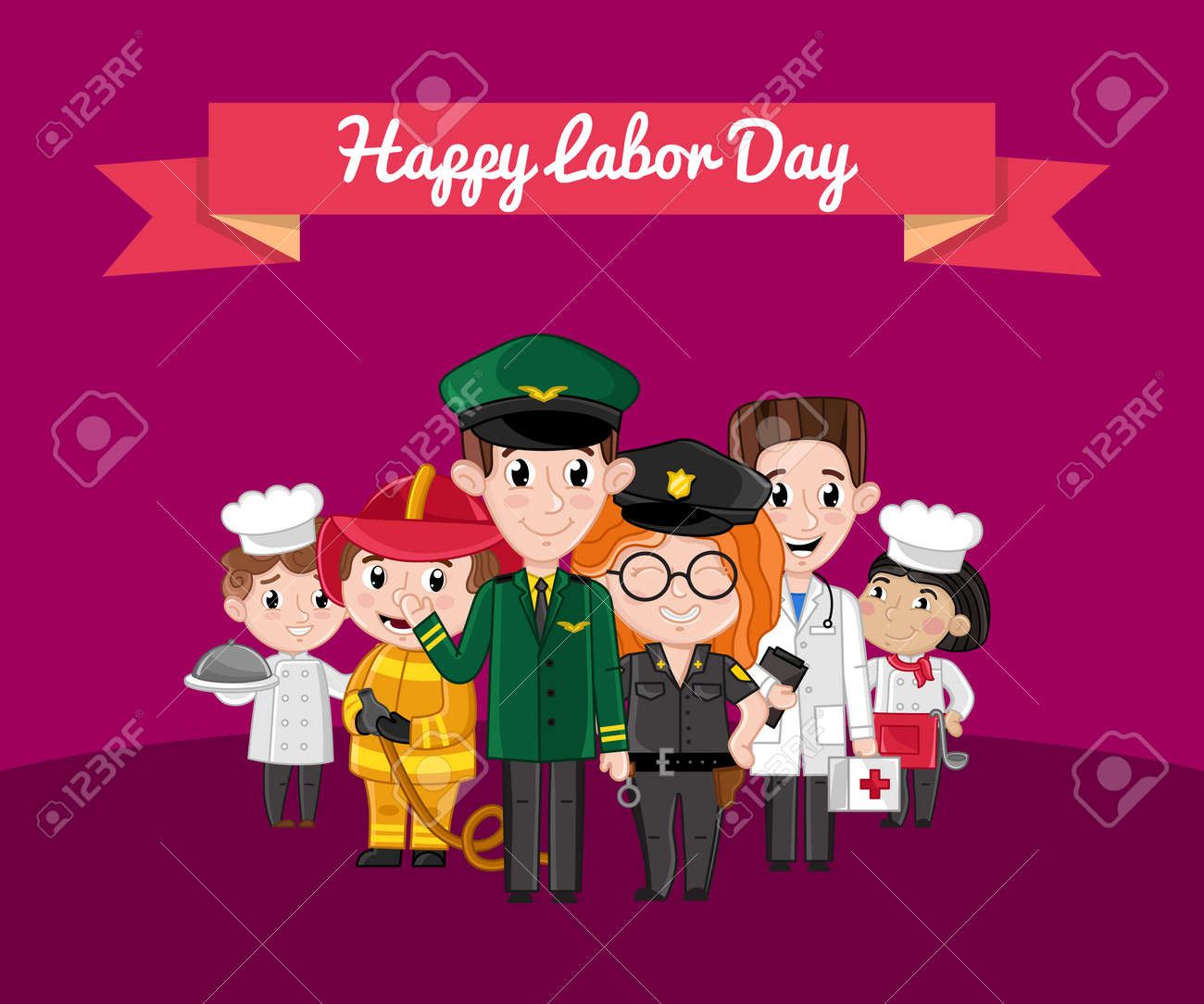 Happy labor day greeting card with children kids in professional happy labor day greeting card with children kids in professional costumes of cook doctor m4hsunfo