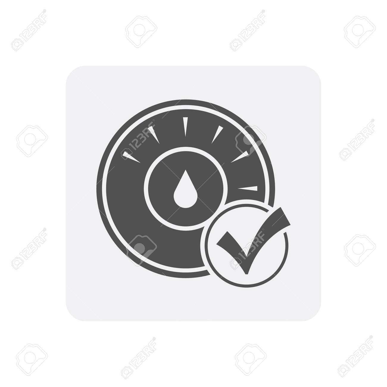 quality control at home icon with thermostat sign royalty free