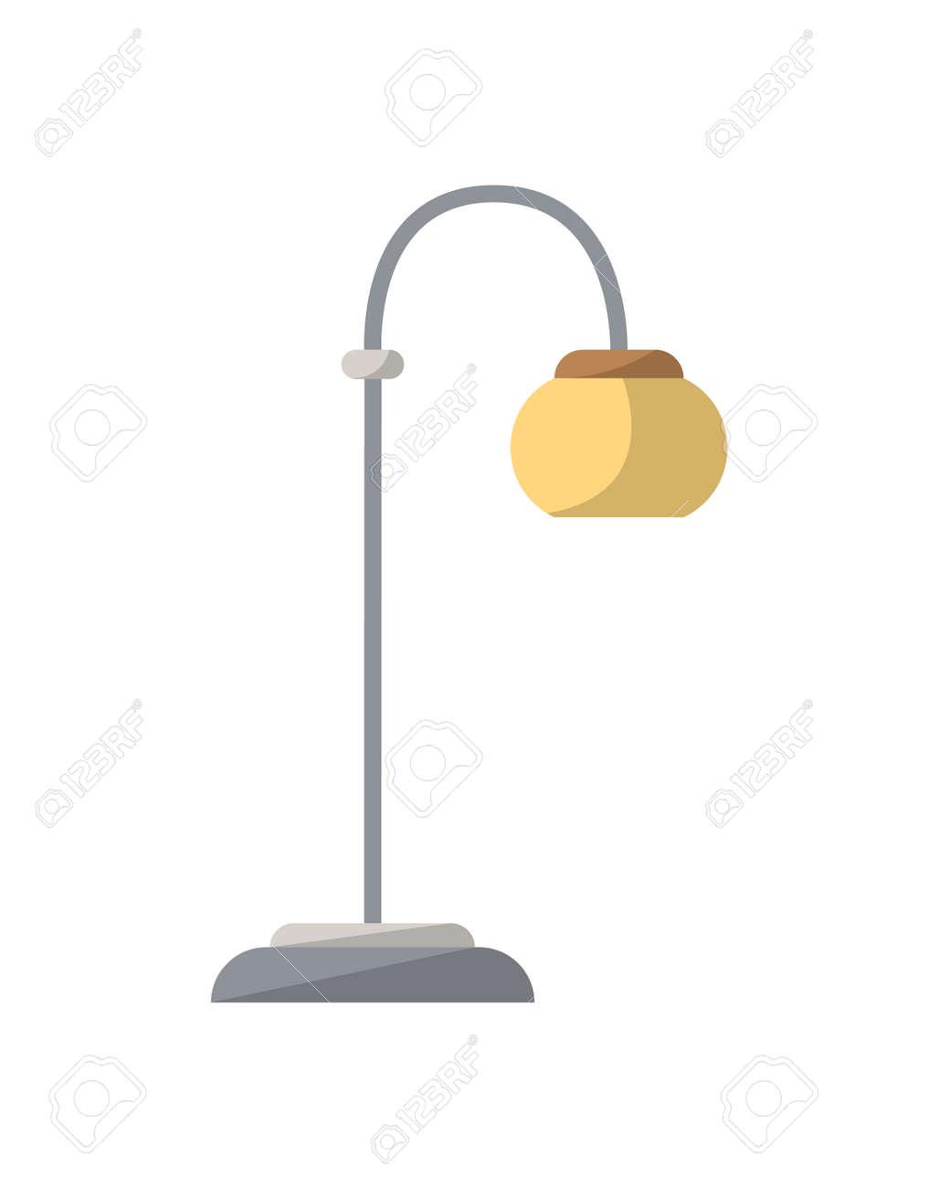 Staande Lamp Geïsoleerd Pictogram In Vlakke Stijl. Het ...