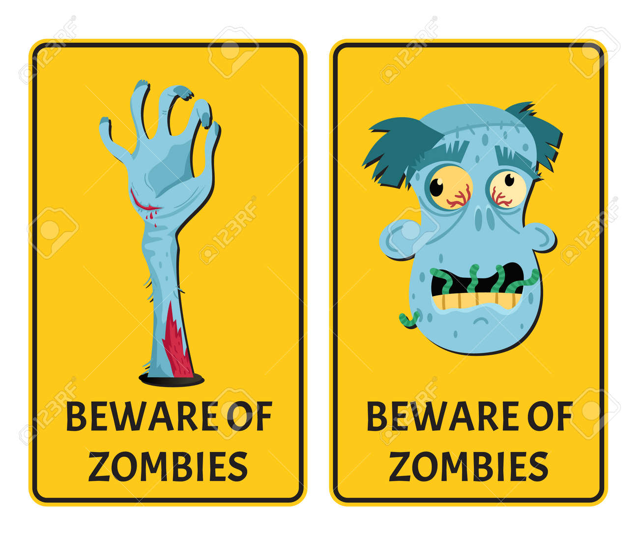 beware of zombies labels with monster body parts. halloween party