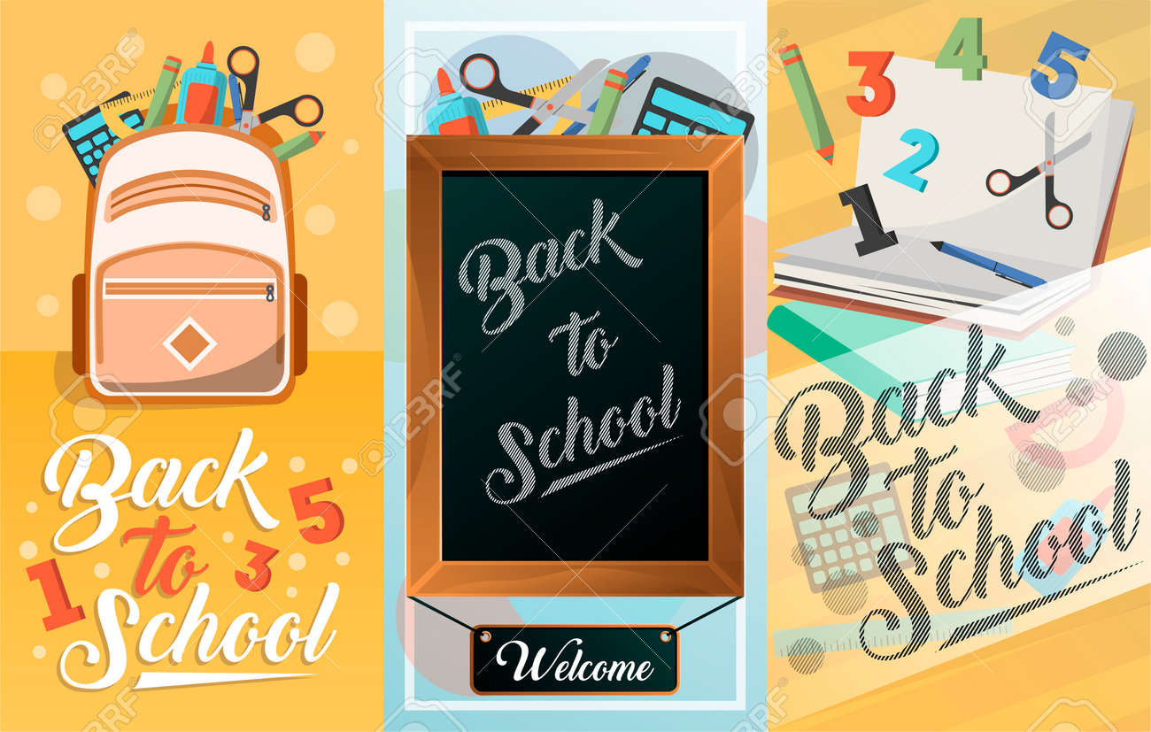 Back to school card set with school supplies greeting card design back to school card set with school supplies greeting card design education template of m4hsunfo