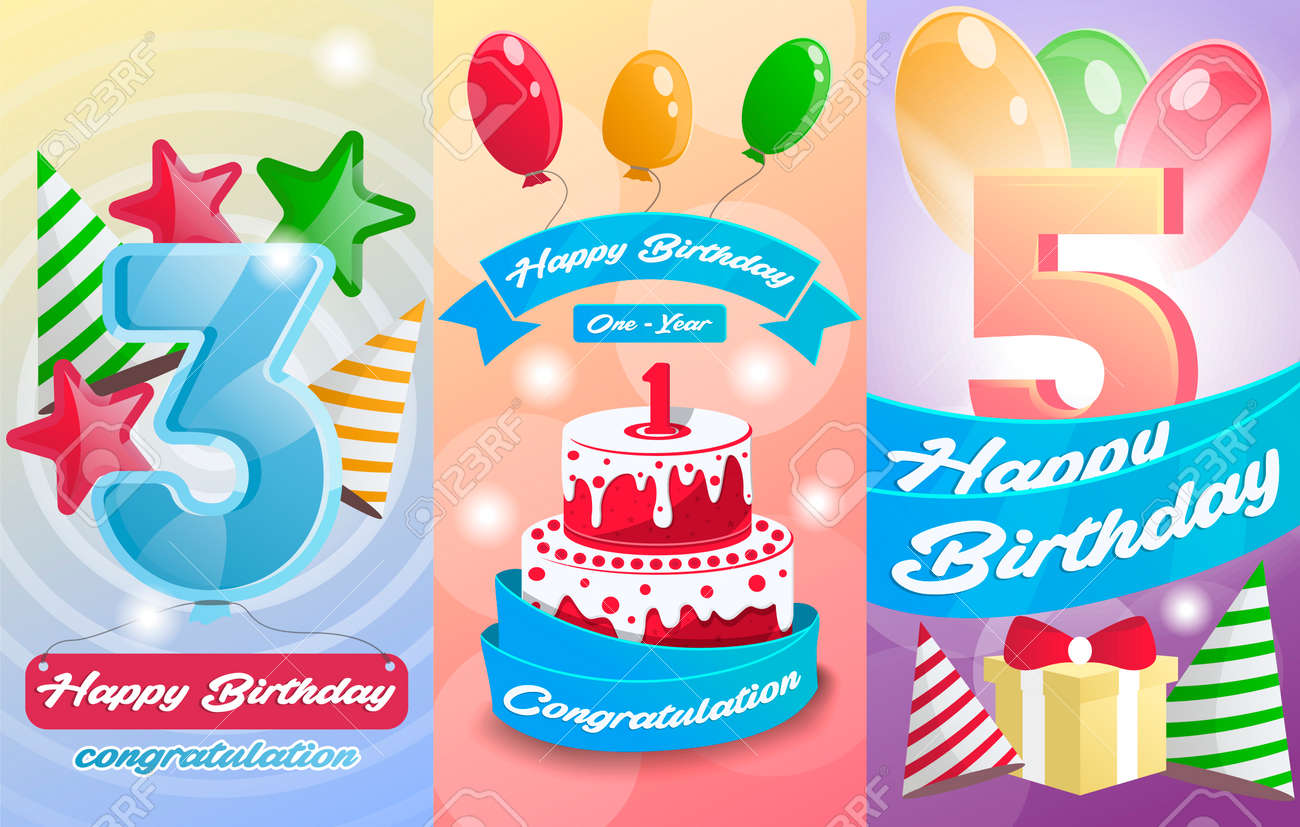 Happy Birthday Kids Postcard Set Anniversary Congratulation Greeting Cards With Cake Air