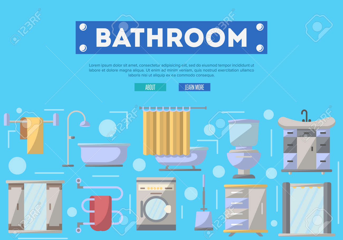 Bathroom Furniture Renovation Poster With Washing Machine, Shower Cabin,  Toilet, Table, Bathtub