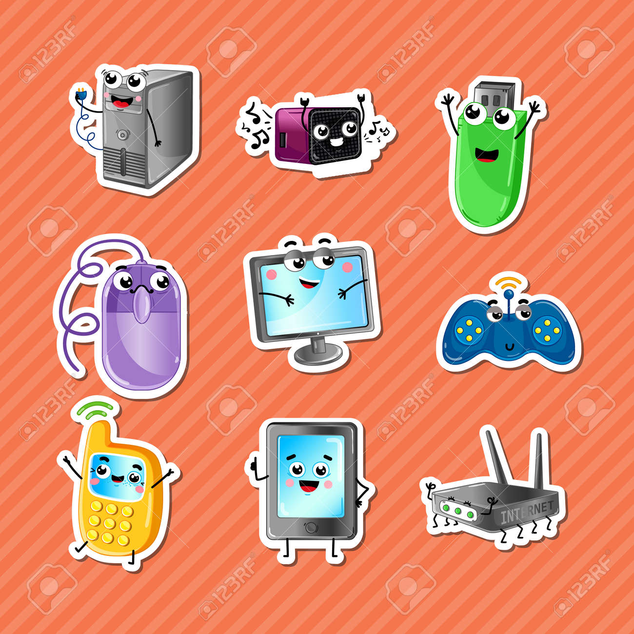 Funny computer gadgets cartoon characters set monitor wi fi funny computer gadgets cartoon characters set monitor wi fi router mobile phone greentooth Image collections