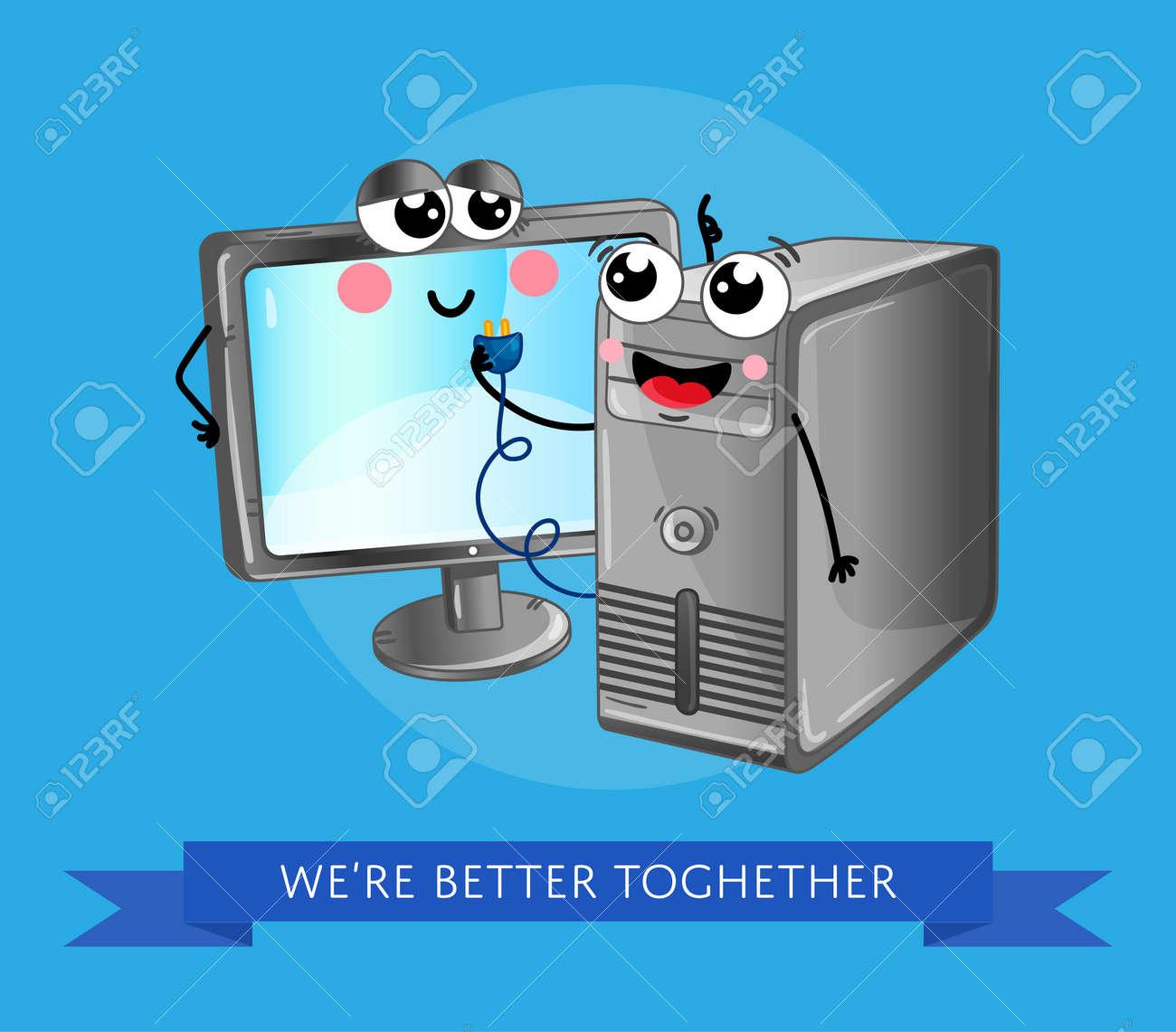 Divertente Computer Gadget Banner Con Monitor Lcd E Computer Desktop Computer Unità Personaggi Di Emozione