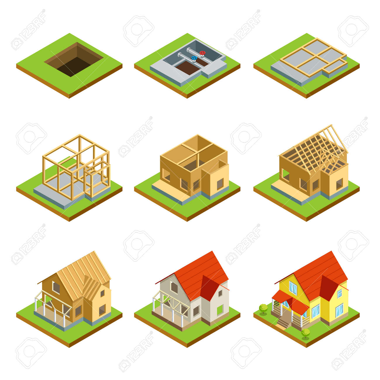 Charming Stages Of Countryside House Construction Isometric 3D Set Stock Vector    90235655
