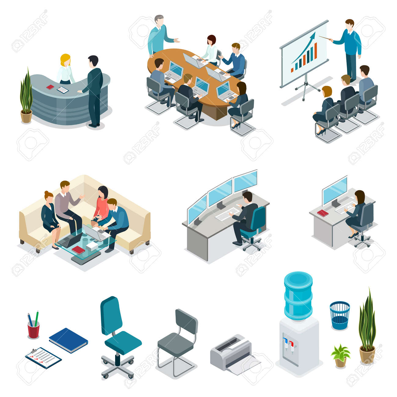 Corporate Office Life Isometric 3D Set. Teamwork And Idea Generation,  Business Presentation With Diagrams