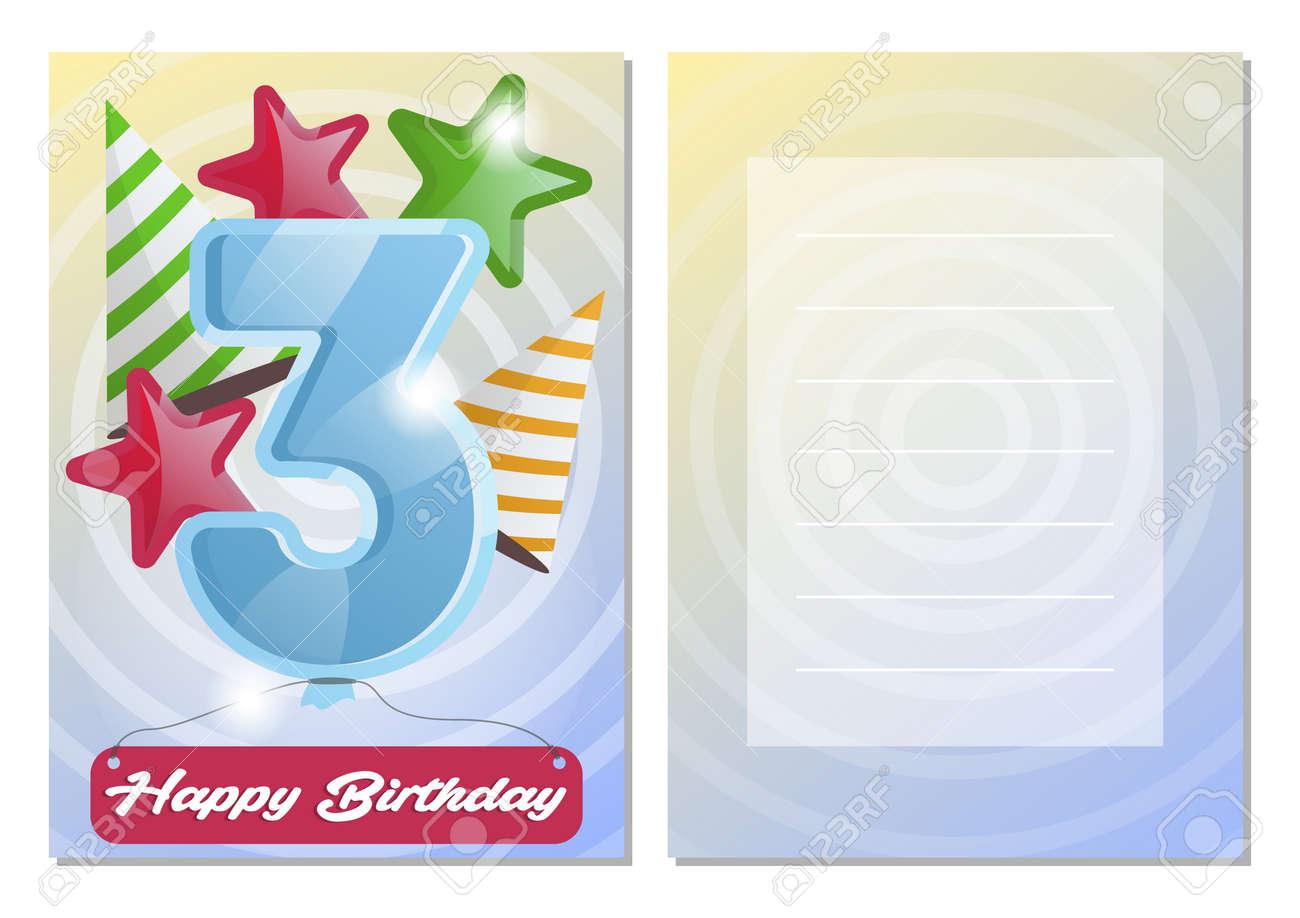 Feliz Cumpleaños Niños Postal Conjunto Felicitación De Aniversario De Tres Años Plantilla De Tarjeta De Felicitación Plantillas De Invitación Para