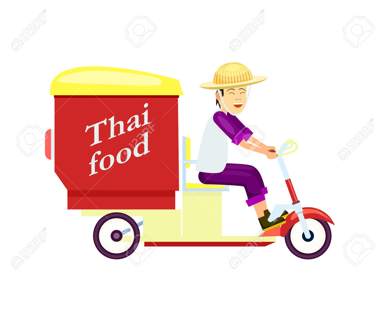 Icône de livraison de restauration rapide thaï avec homme de messagerie sur  le scooter. Commande en ligne alimentaire à domicile, expédition