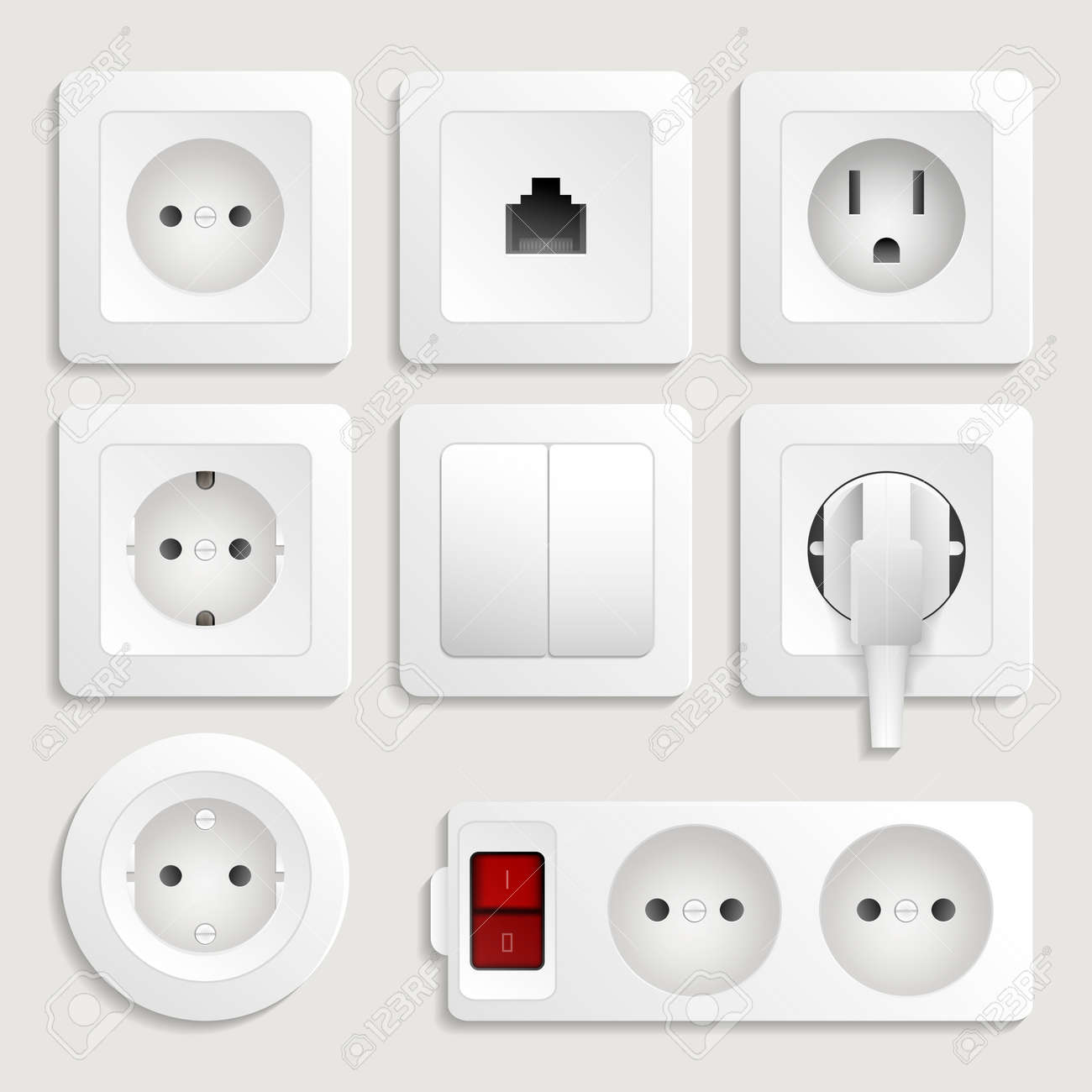 Realistic Electric Outlet Icon Set. Different Type Power Plug ...