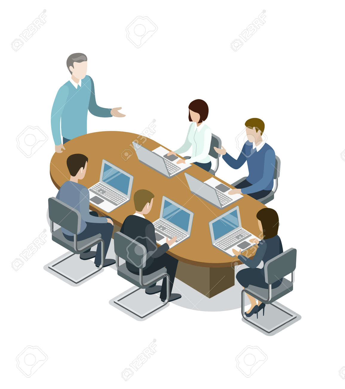 Company Business Meeting Isometric 3D Icon Corporate Office Life Teamwork And Idea Generation Conceptual