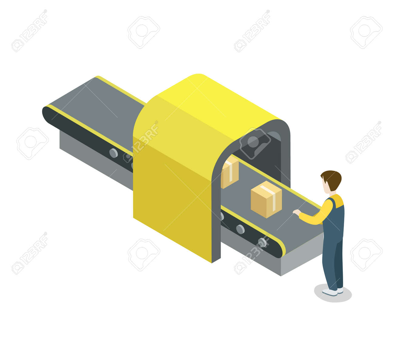 Worker near belt production line isometric 3D icon. Industrial goods production, mechanical conveyor manufacturing process, assembly line vector illustration. - 90756884