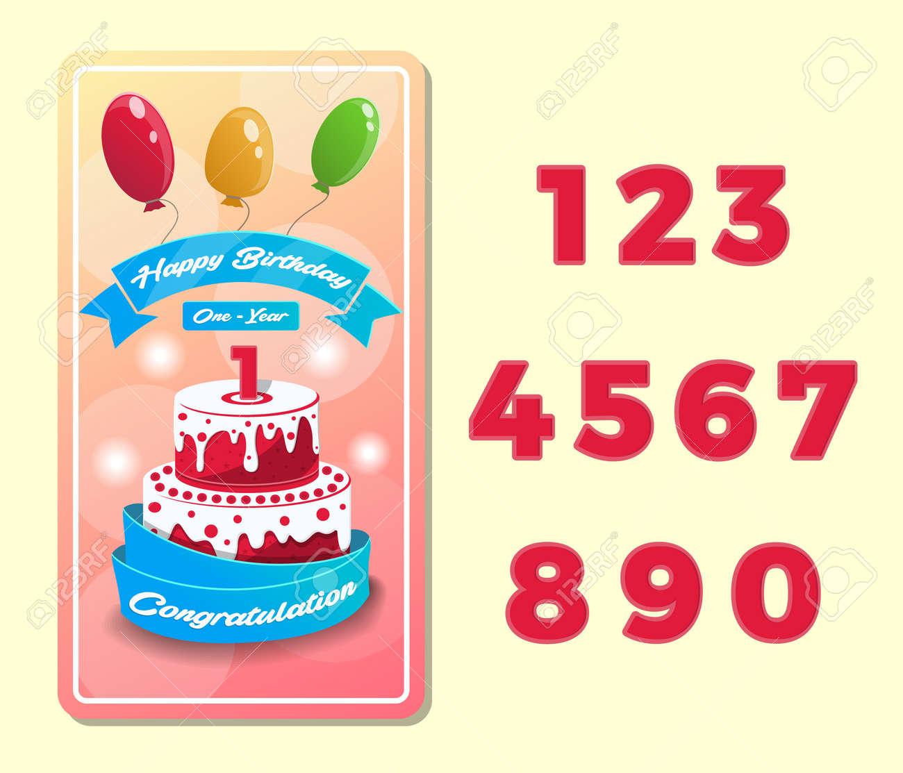 Postal De Feliz Cumpleaños Para Niños Con Número De Colección Felicitaciones De Aniversario Tarjetas De Felicitación Con Pastel De Cumpleaños Y