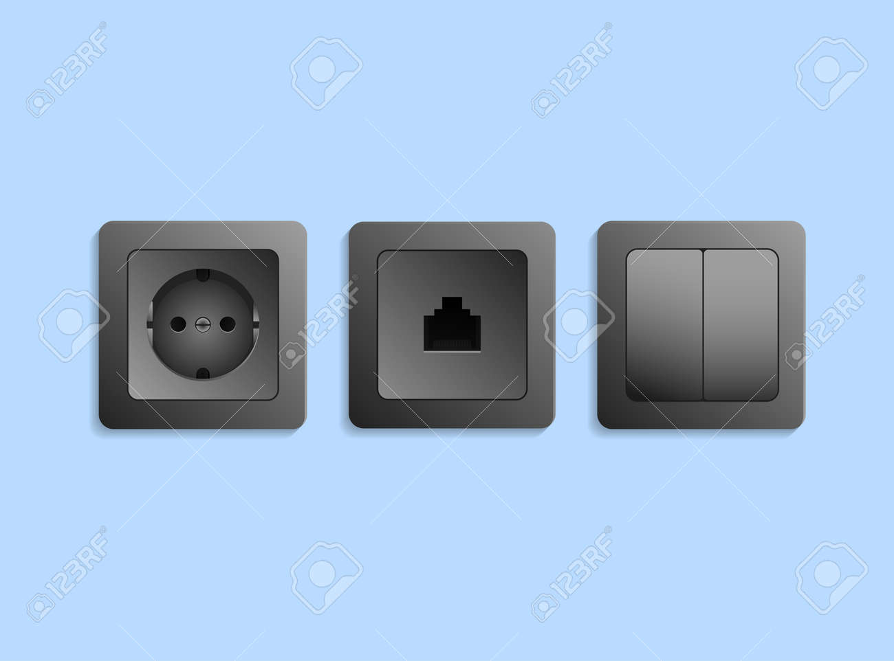 Different Realistic Black Electric Devices Power Socket Network How To Install Electrical Outlet Light Switch And On Blue