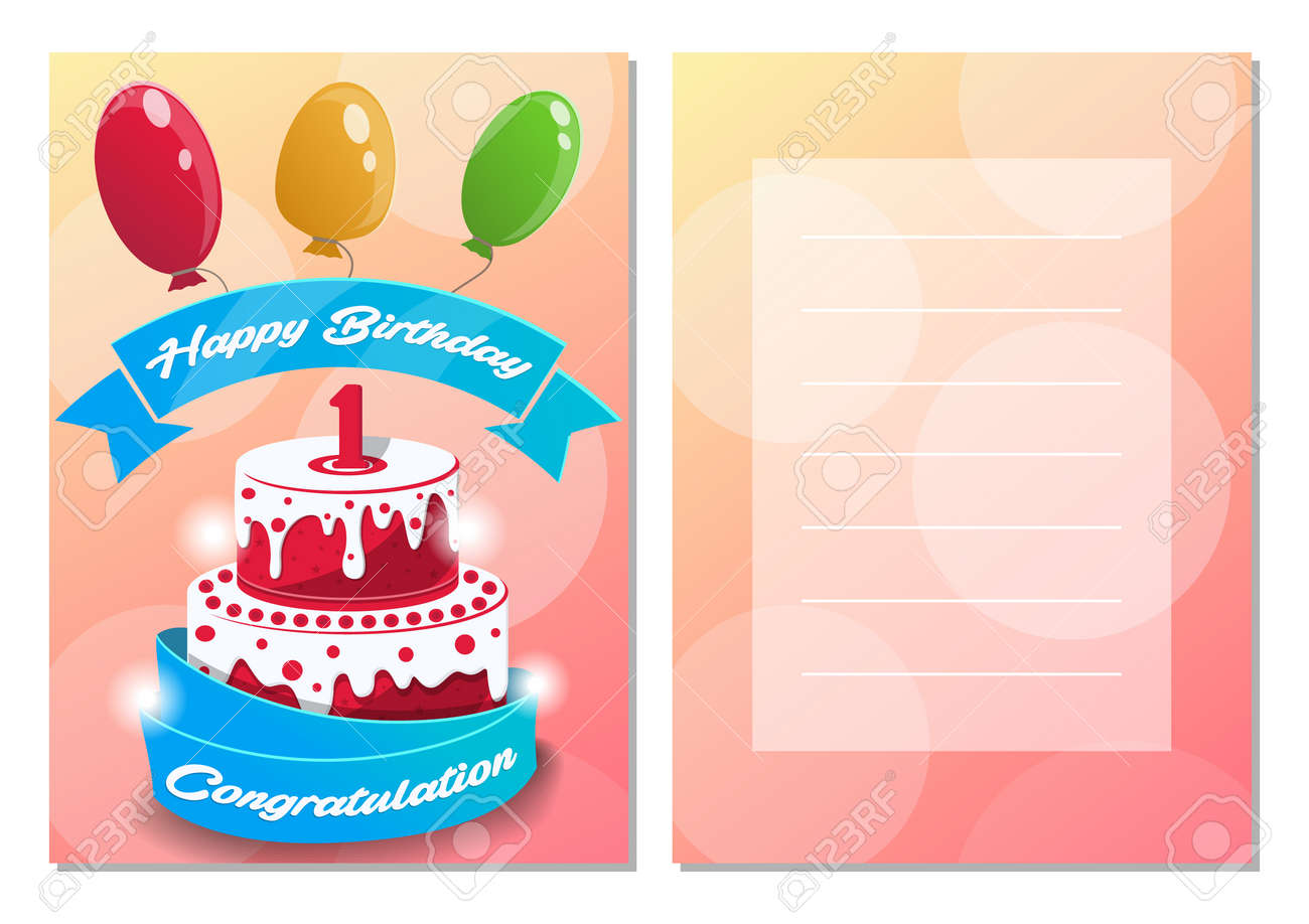 Happy Birthday Kids Postcard Set One Year Anniversary Congratulation Greeting Cards With Cake