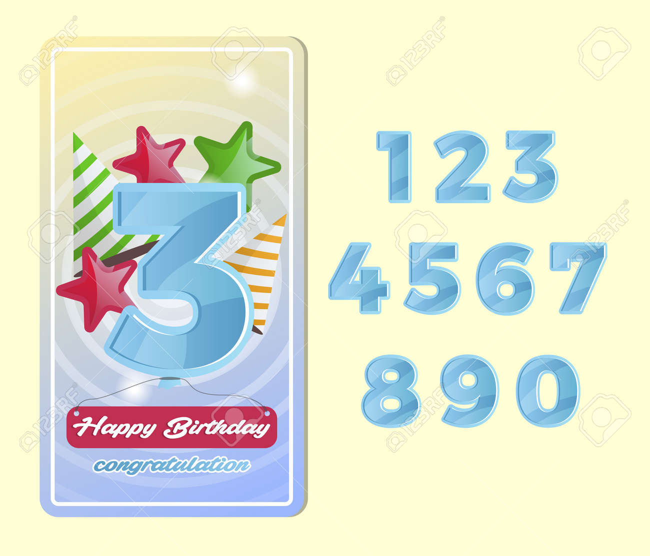 Happy Birthday Kids Postcard Set With Number Collection Anniversary