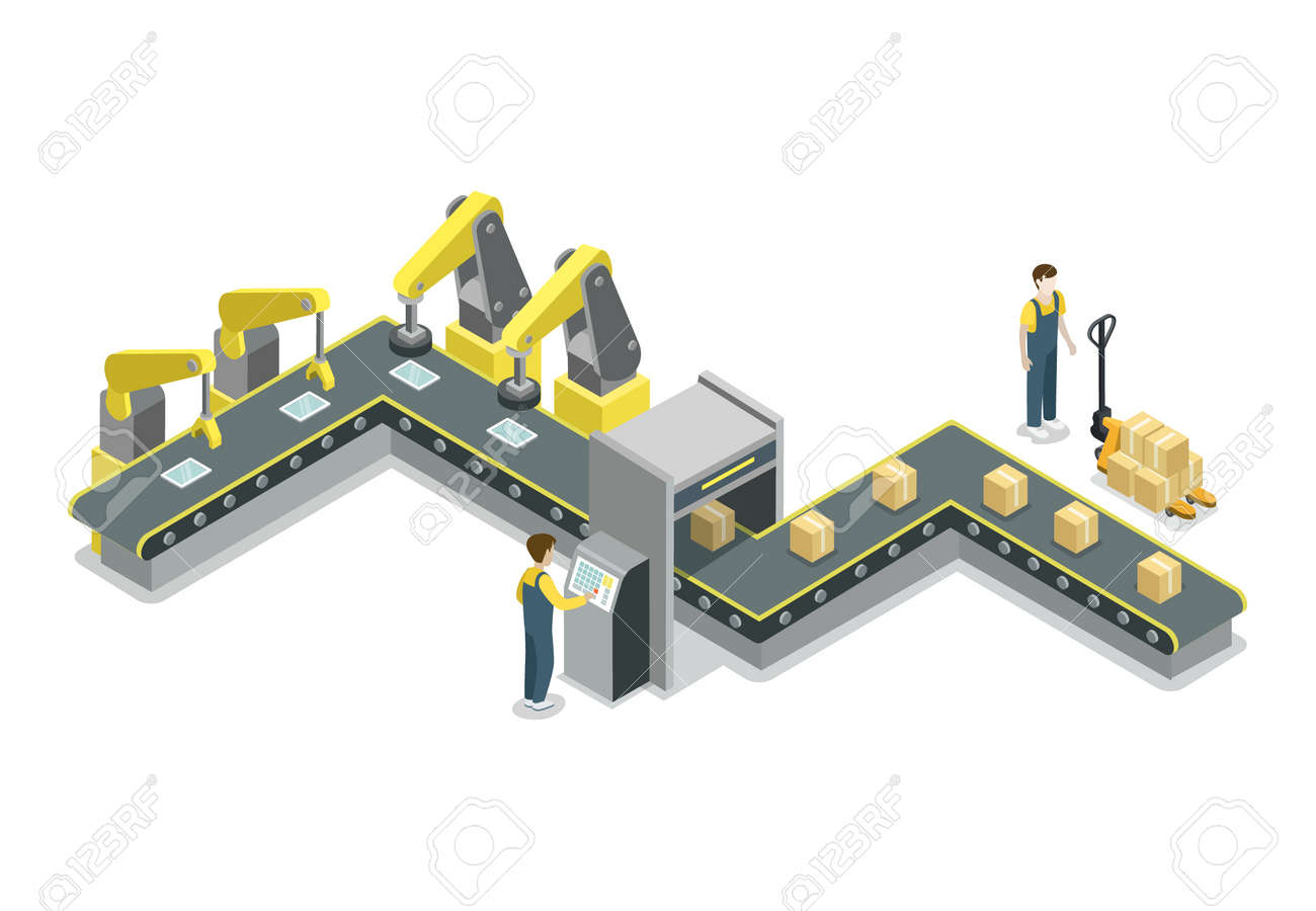 Modern belt production line isometric 3D icon. Industrial goods production, mechanical conveyor manufacturing process, assembly line vector illustration. - 91953542