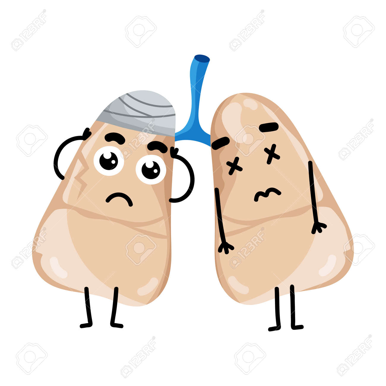 Personaje De Dibujos Animados De Pulmones Enfermos Humanos. Elemento ...