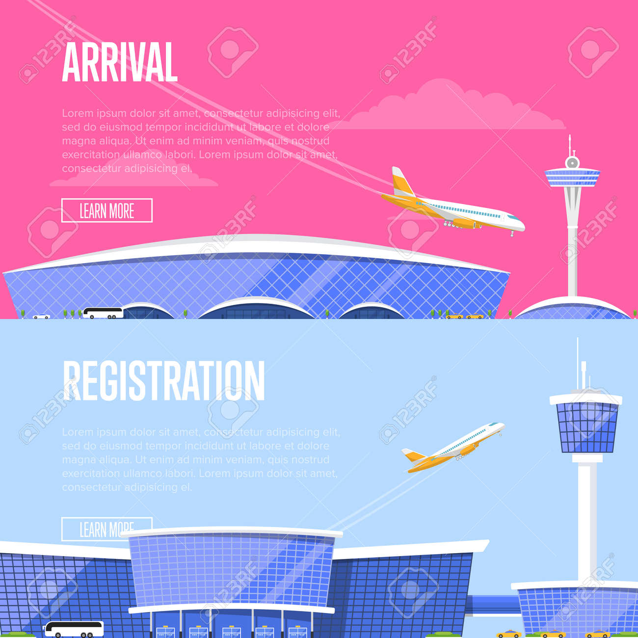 Airplane arrival and airport registration flyers. International airline  advertising, touristic air tour. Glassy