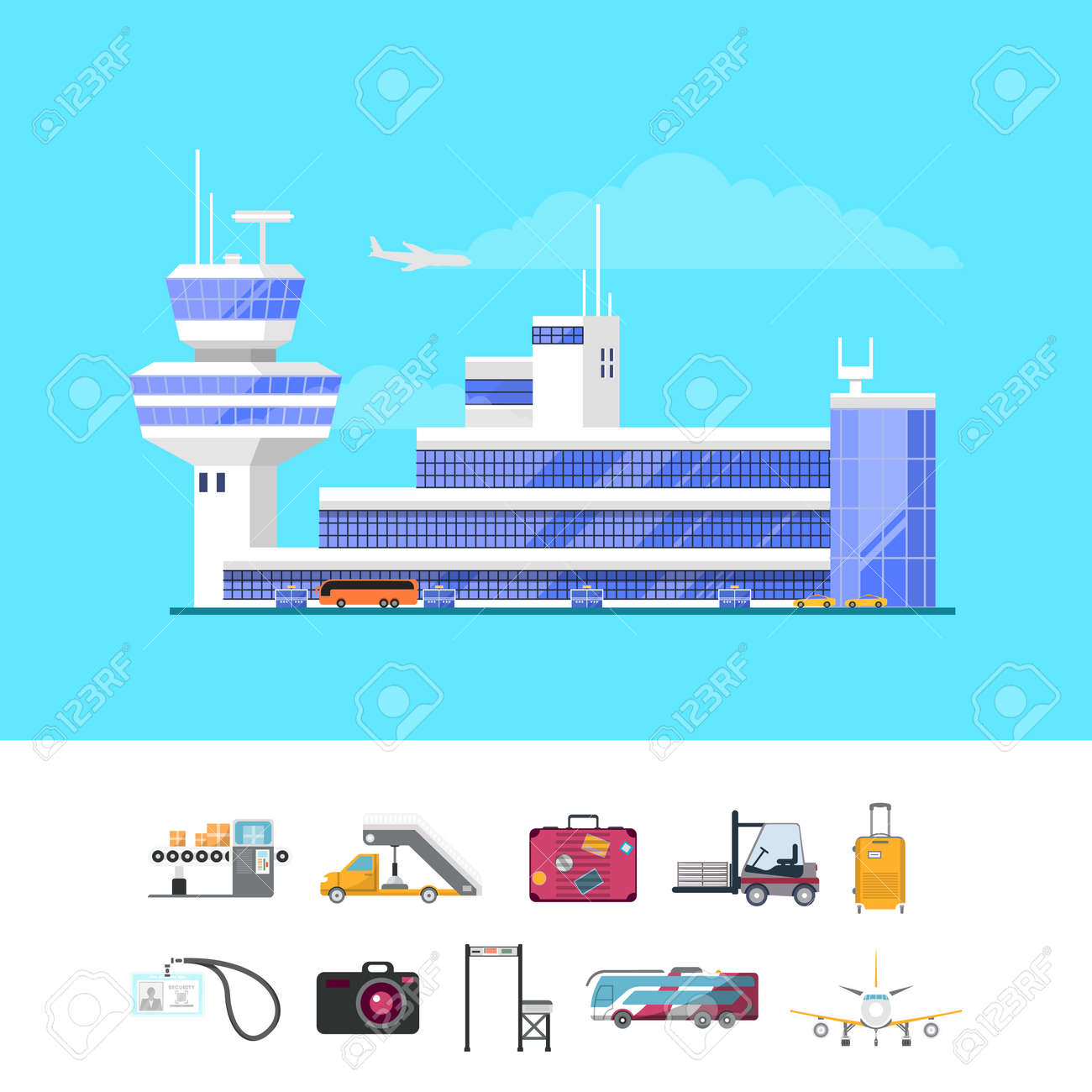 International passenger airport guide template with set of infrastructure  elements. Trendy glassy air terminal with
