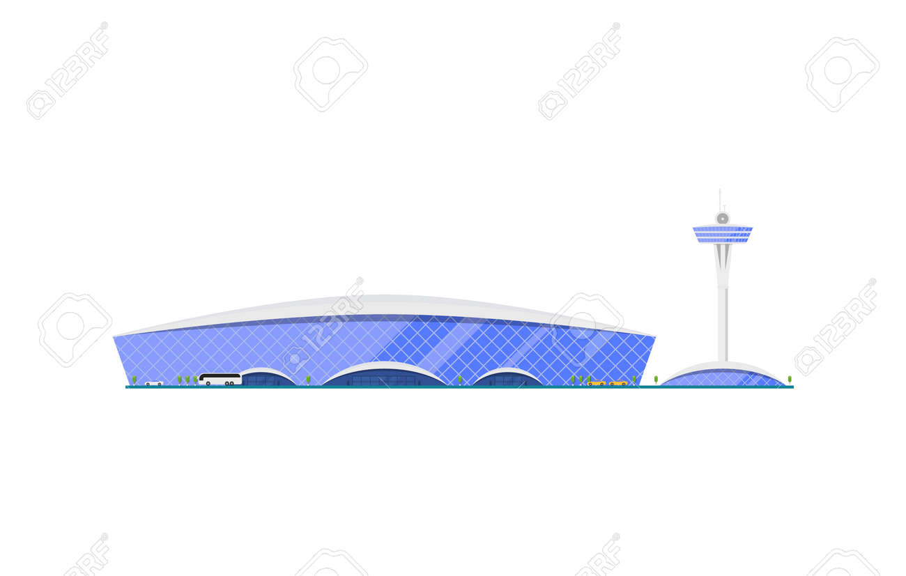 Trendy glassy airport terminal with flight control tower. Air passenger  infrastructure vector illustration. Stock