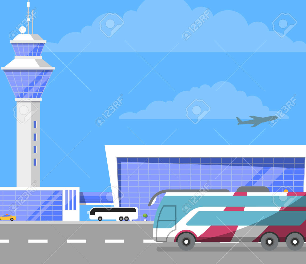 Modern international airport building with flight control tower. Passenger  bus on road near glassy air