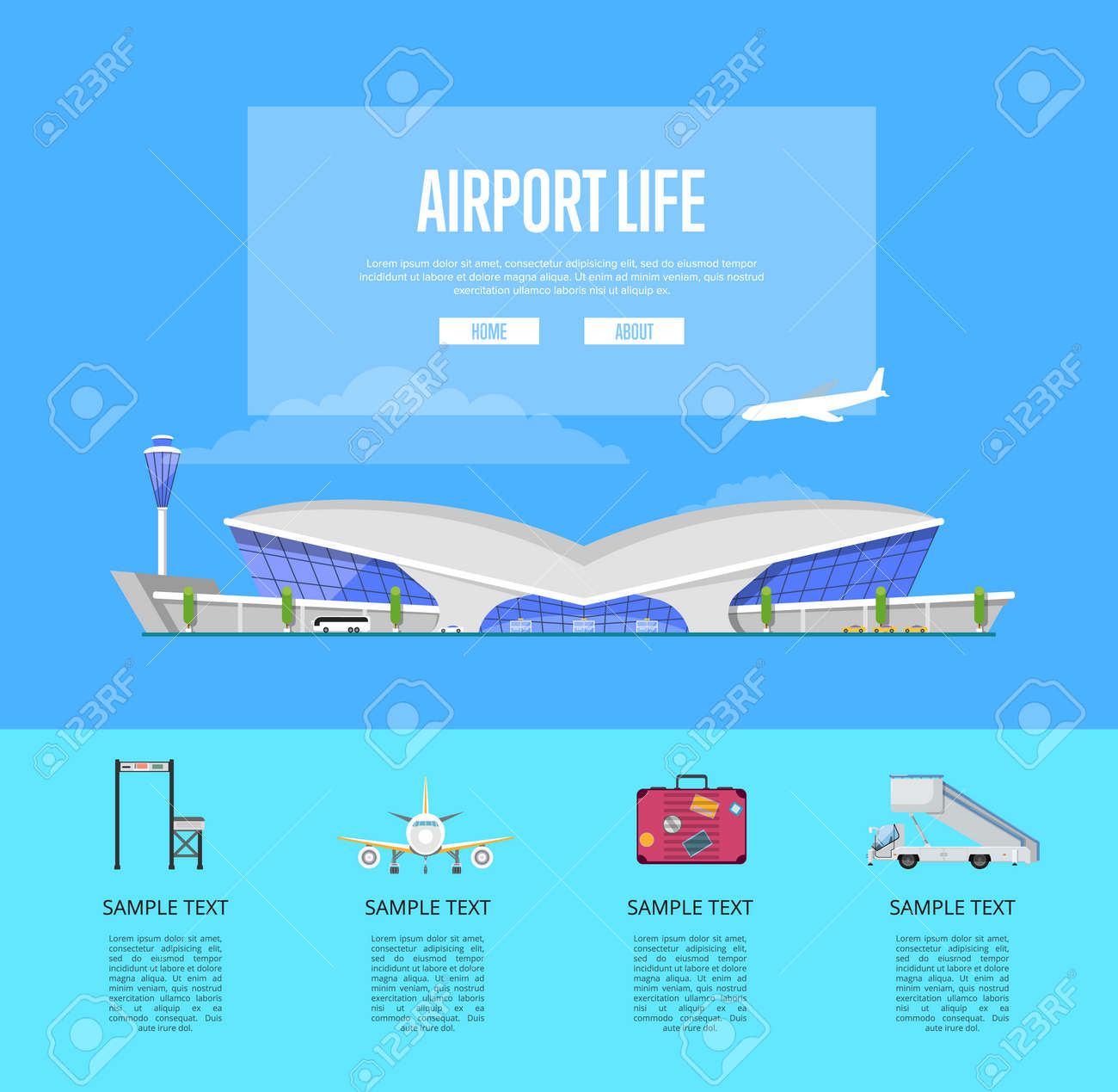 International passenger airport life guide template. Trendy glassy air  terminal with flight control tower vector