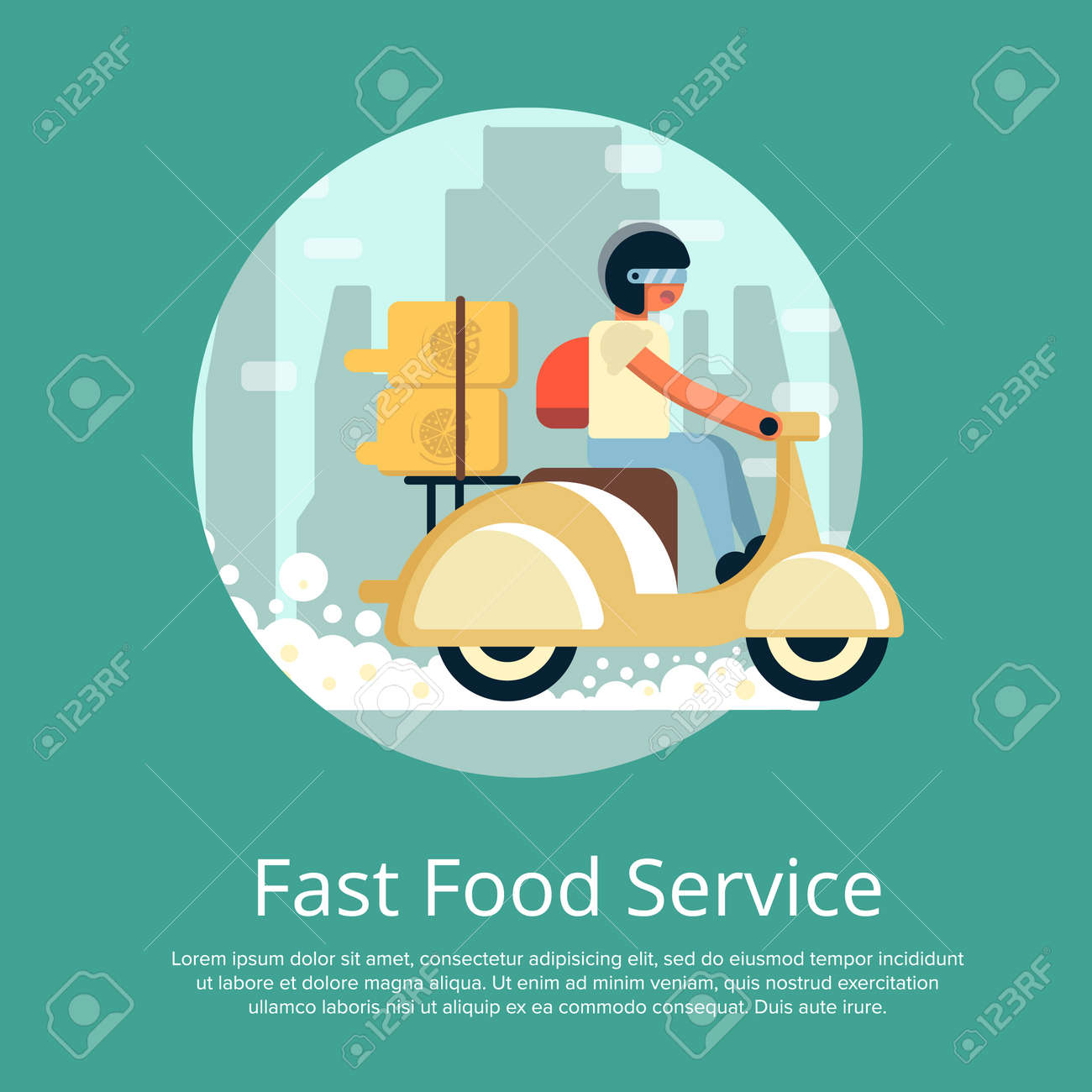 Fast Food Delivery Service Poster With Courier Man Ride Scooter