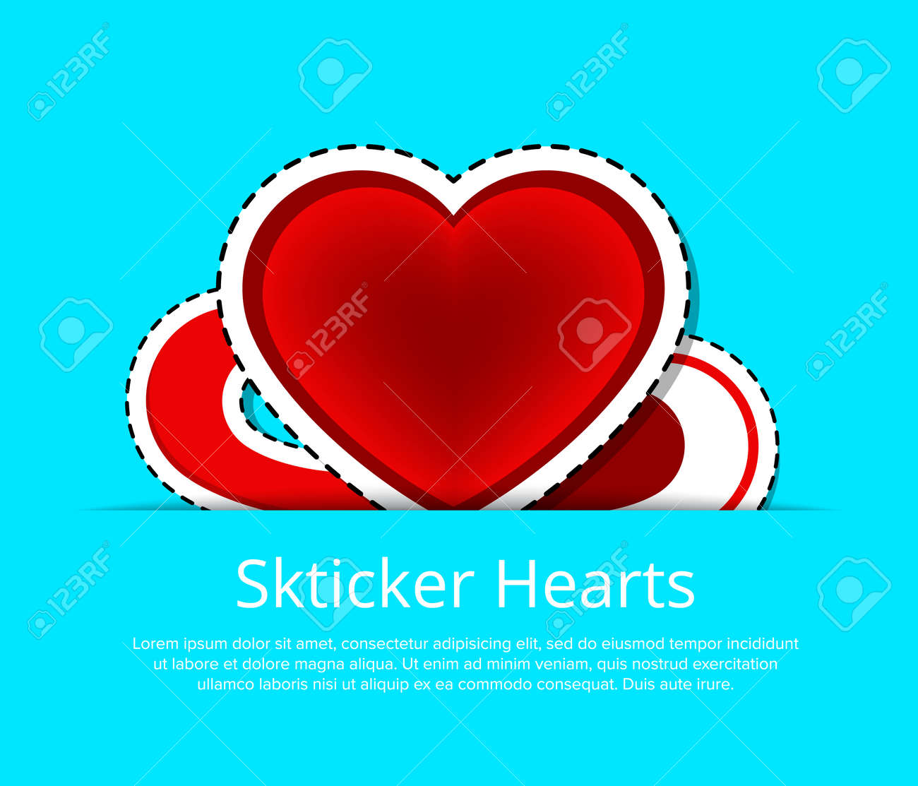 Happy Valentines Day Greeting Card Template With Red Hearts Stickers ...