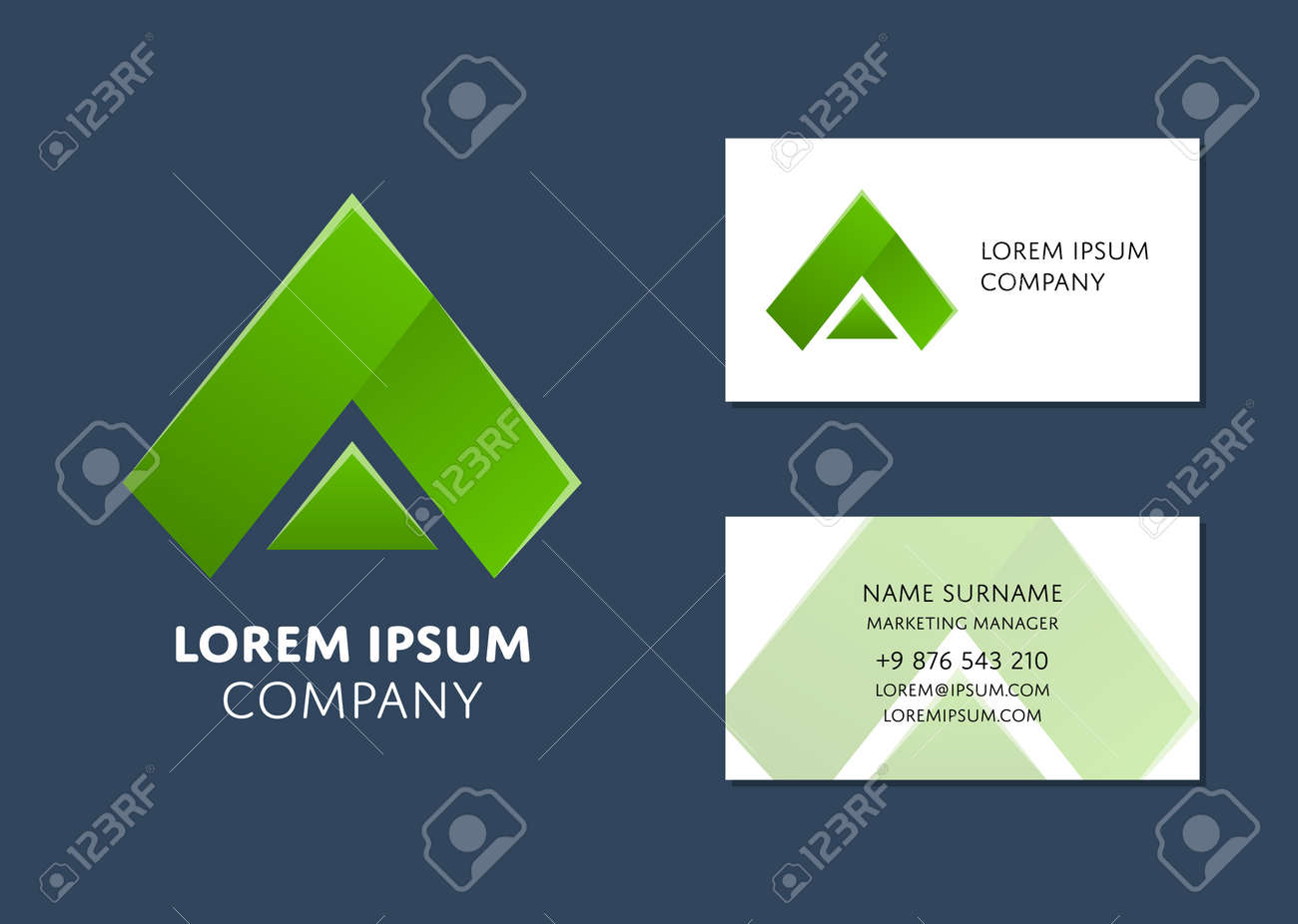 Creative Business Card Template With Green Triangle Icon. Name ...