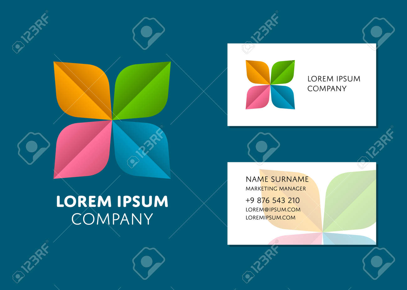 Creative business card template with trendy colorful logo name creative business card template with trendy colorful logo name work position phone friedricerecipe Choice Image