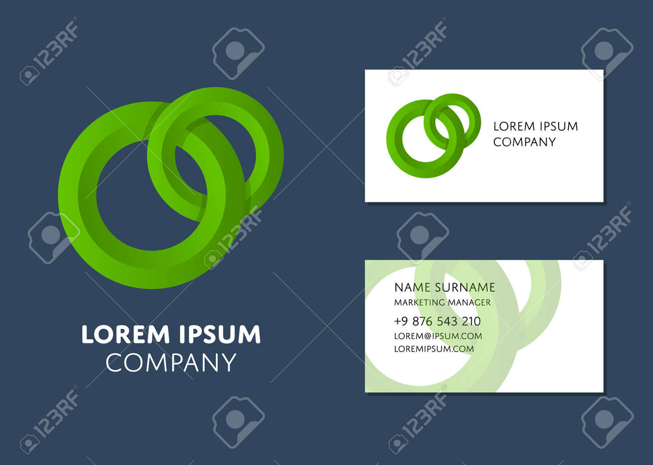 Creative business card template with green circle logo name creative business card template with green circle logo name work position phone flashek Images