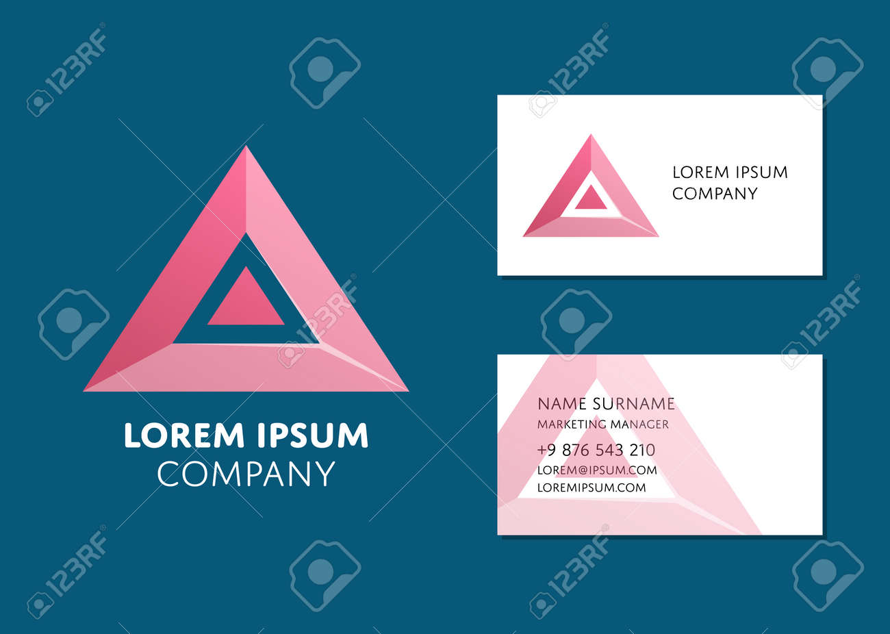 Creative business card template with red triangle logo name creative business card template with red triangle logo name work position phone accmission Choice Image