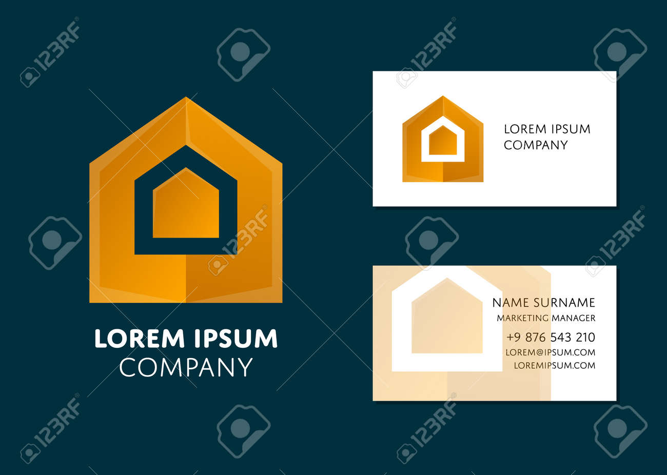 Creative business card template with yellow geometric logo name creative business card template with yellow geometric logo name work position phone cheaphphosting Choice Image