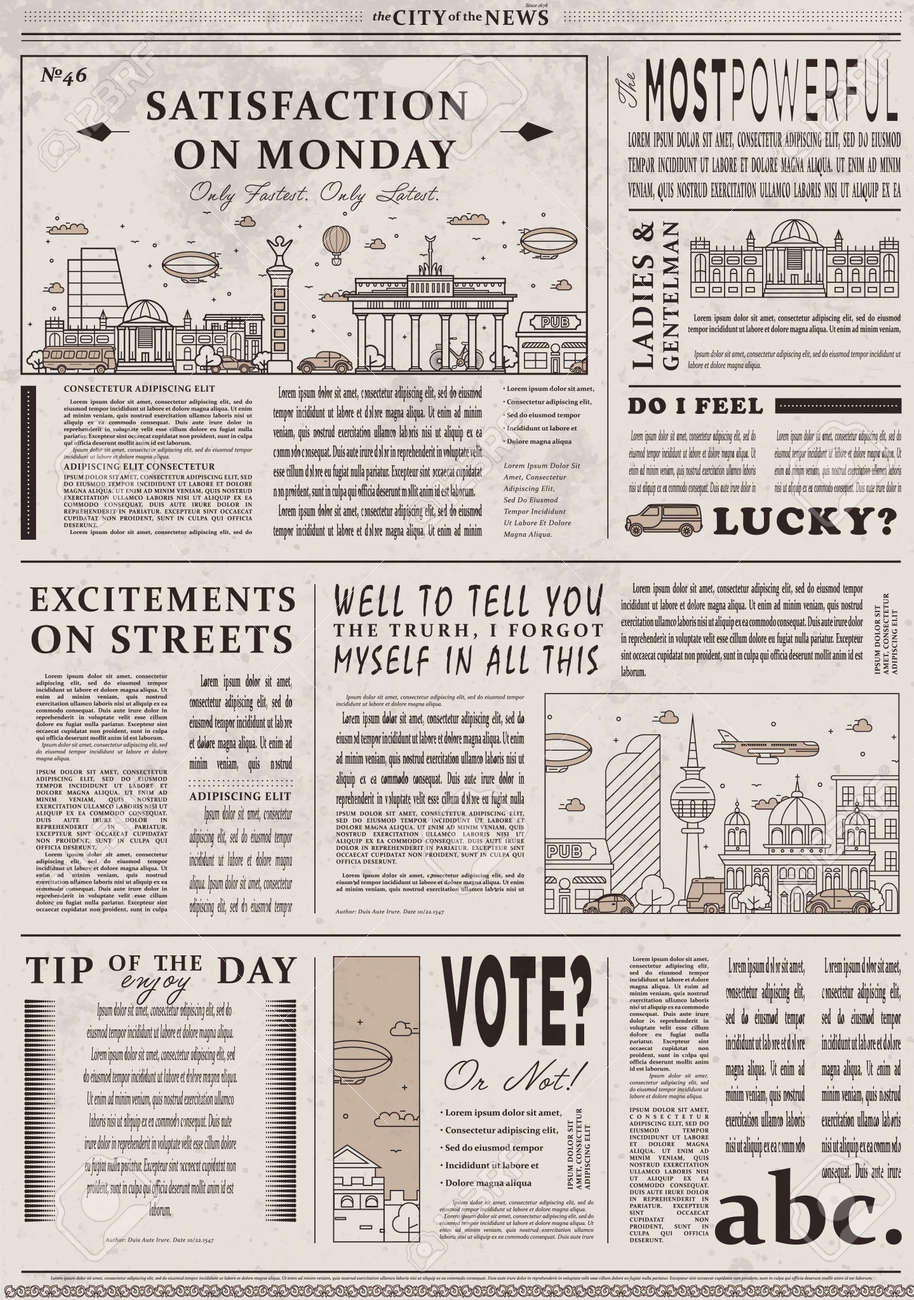 Design Of Old Vintage Newspaper Template Stock Photo, Picture And ...