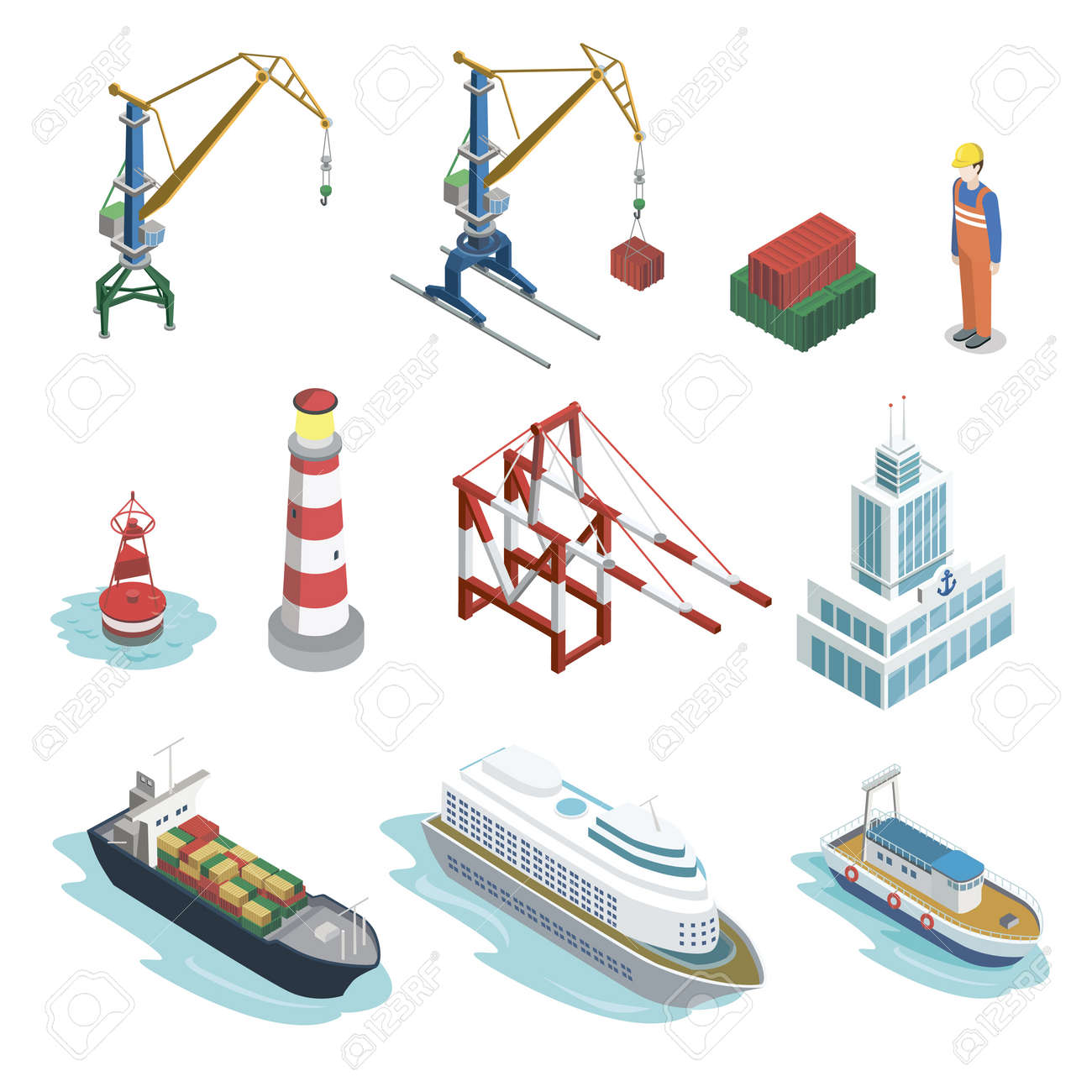 Sea shipping logistics isometric 3D elements. Commercial world marine delivery, freight transportation. Container ship, lighthouse, cargo crane, port, warehouse, navigational buoy vector illustration. - 96843981
