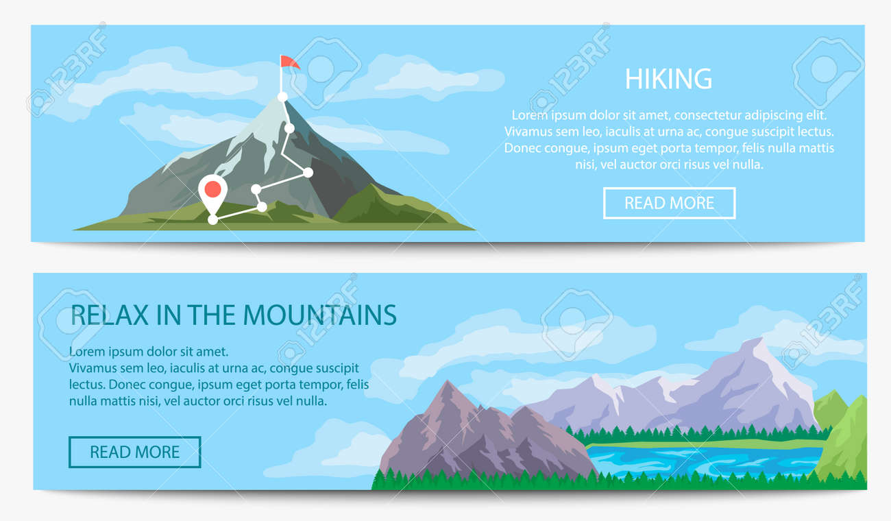 Extreme travel and hiking banner set - 97574911