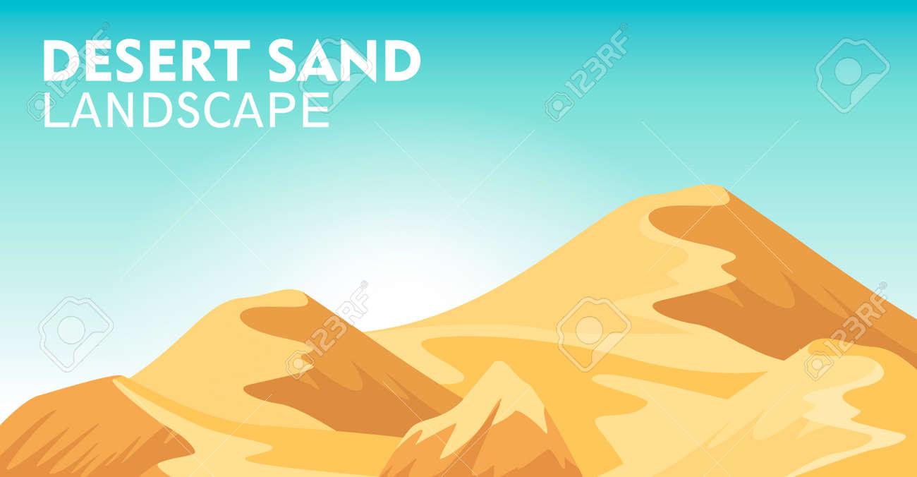 Desert sand landscape background vector illustration. Blue sky and yellow sand dunes, dry desert mountain sandstone under sun backdrop. Outdoor adventure, nature travel and tourism banner. - 97568481