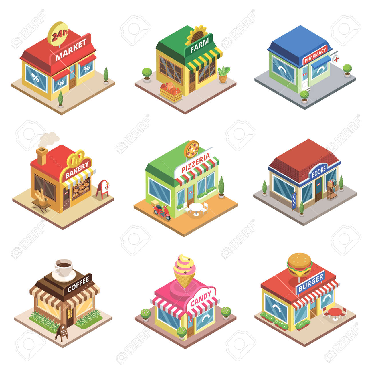 Fast food restaurant and shop buildings - 113332800