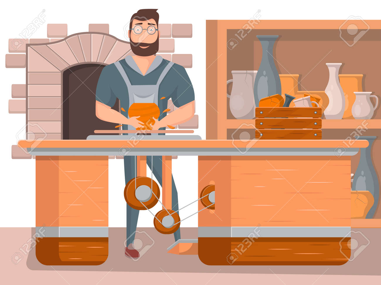 Pottery workshop poster with working potter - 113332804