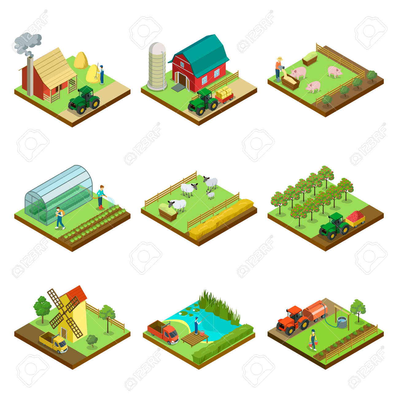 Natural farming isometric 3D elements - 113332835