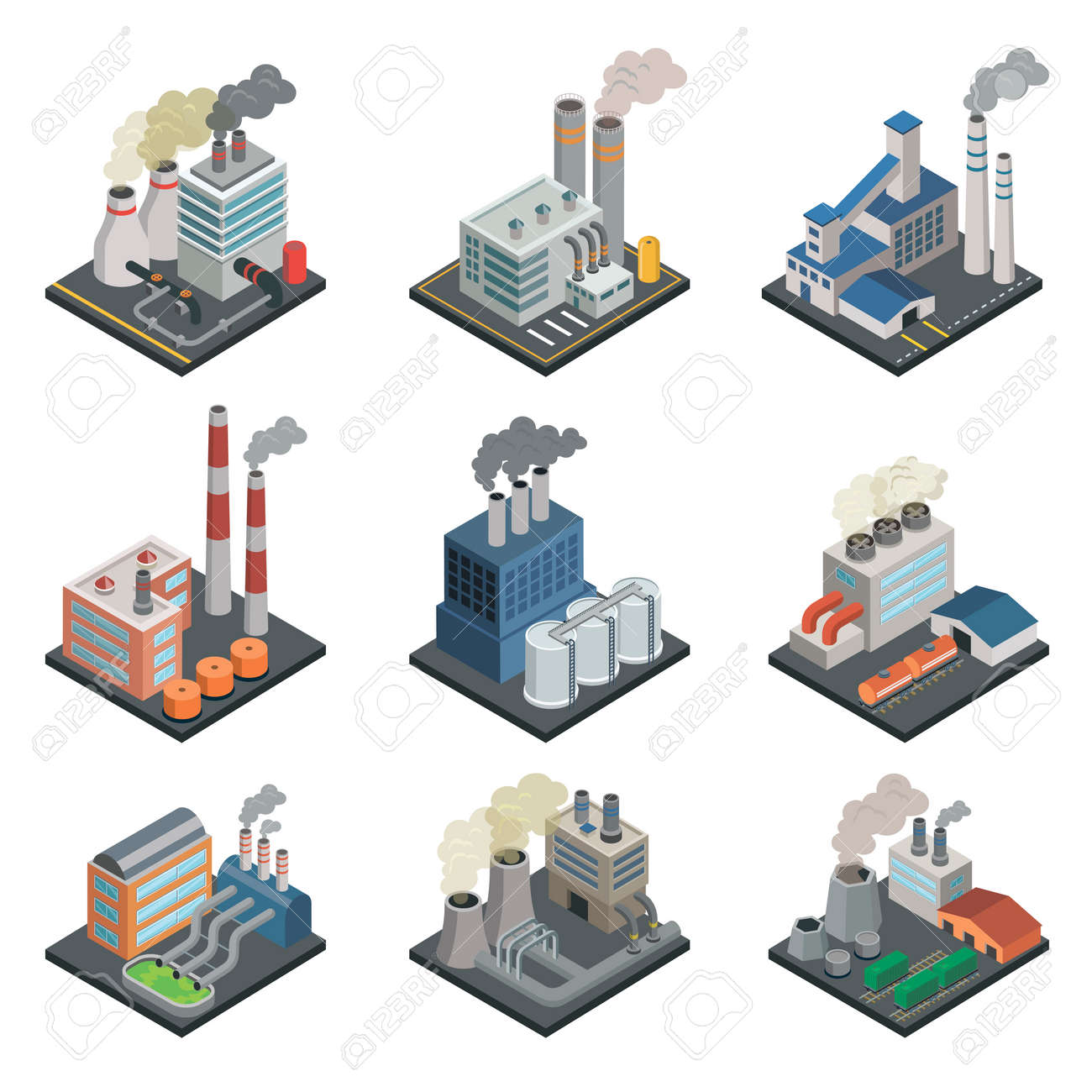 Industrial building factory isometric 3D elements - 113332854