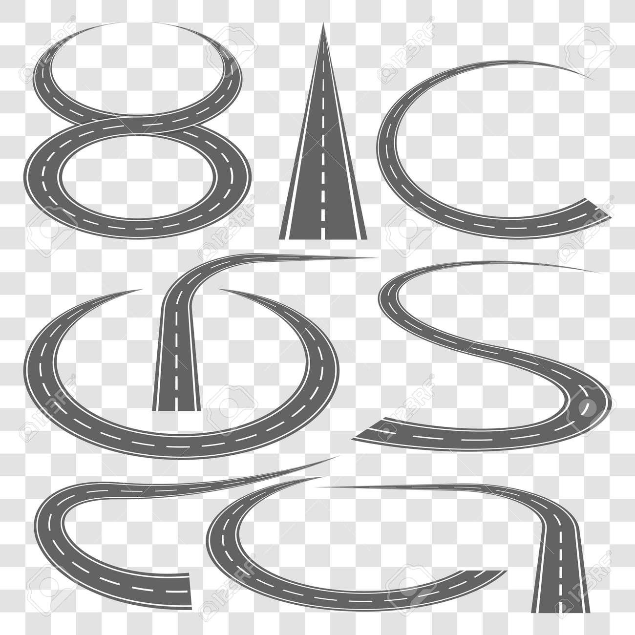 Set of curved highway tracks - 113332861