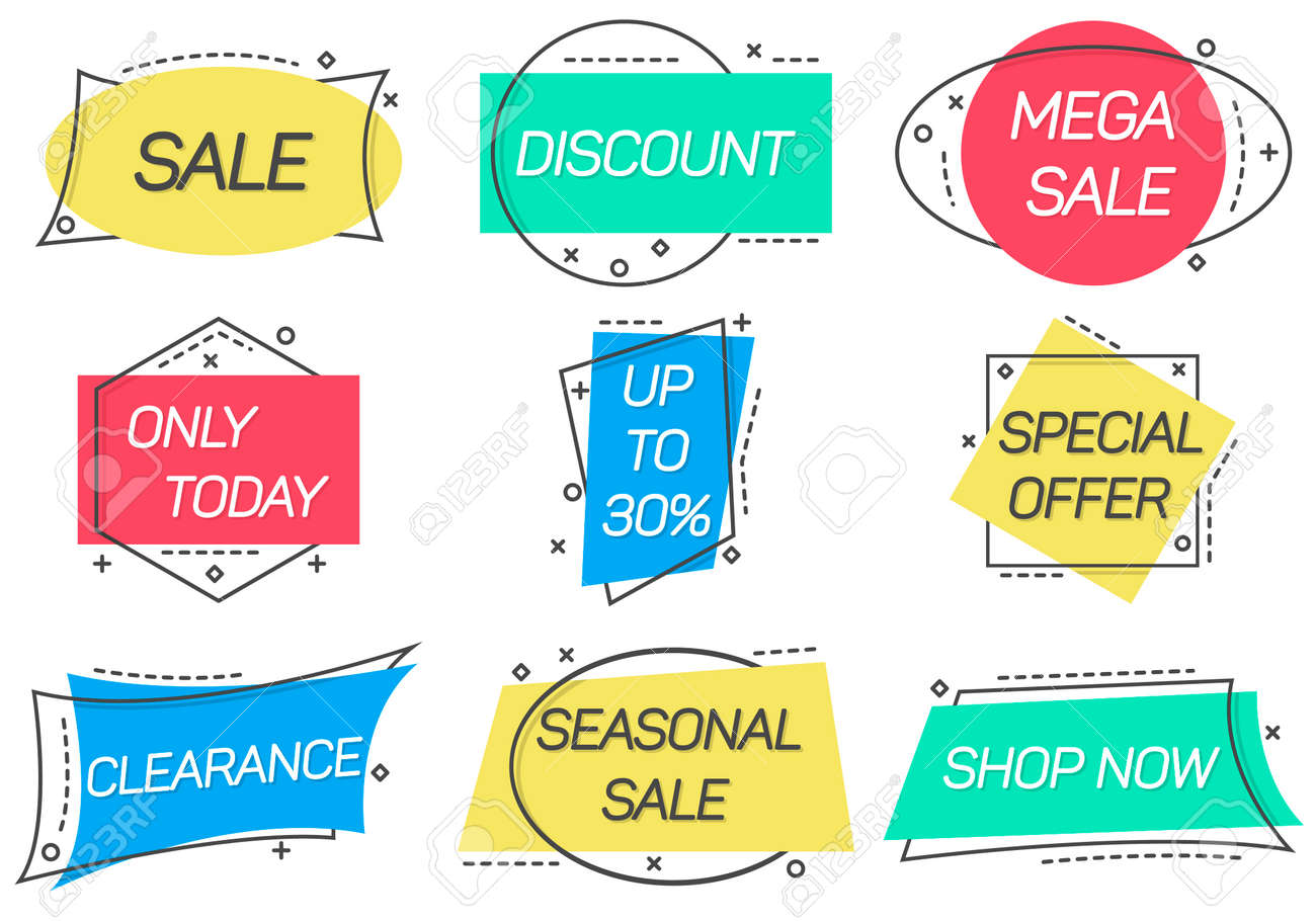 Sale stickers isolated on white background - 113332910
