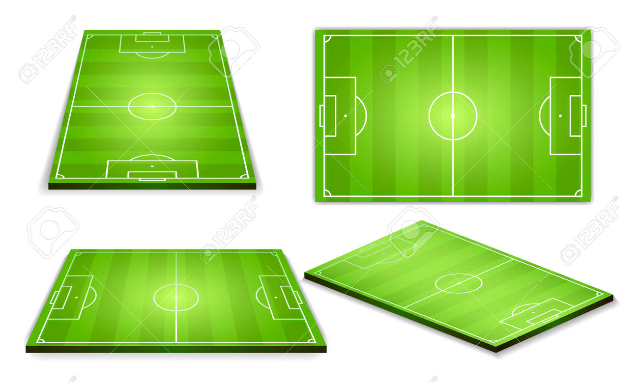 Soccer green field for game collection - 113332921