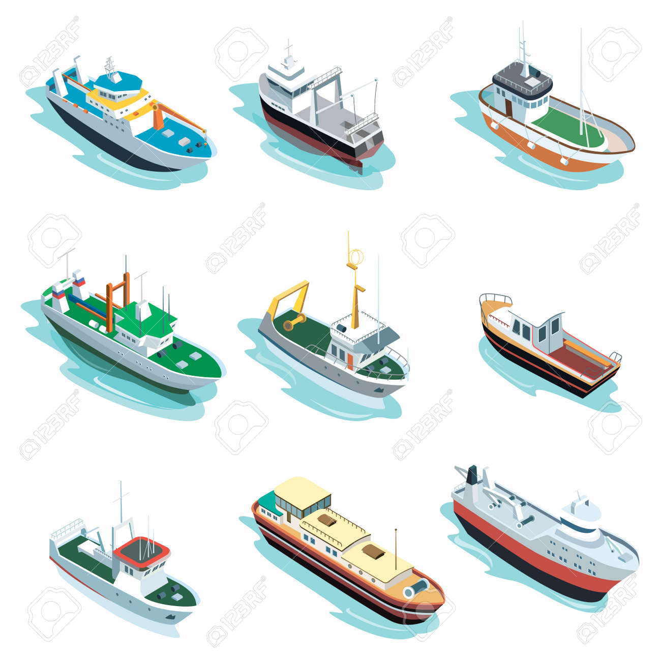 Commercial sea ships isometric 3D elements - 113332915