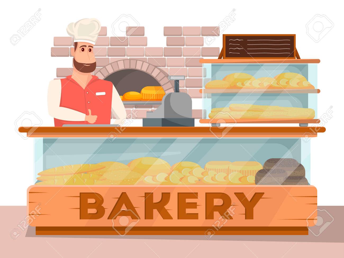 Bakery shop interior banner in cartoon style - 113332933