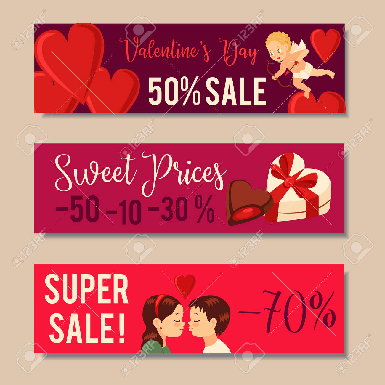 Valentines Day Sale Banners Sale Headers Design Vector Illustration