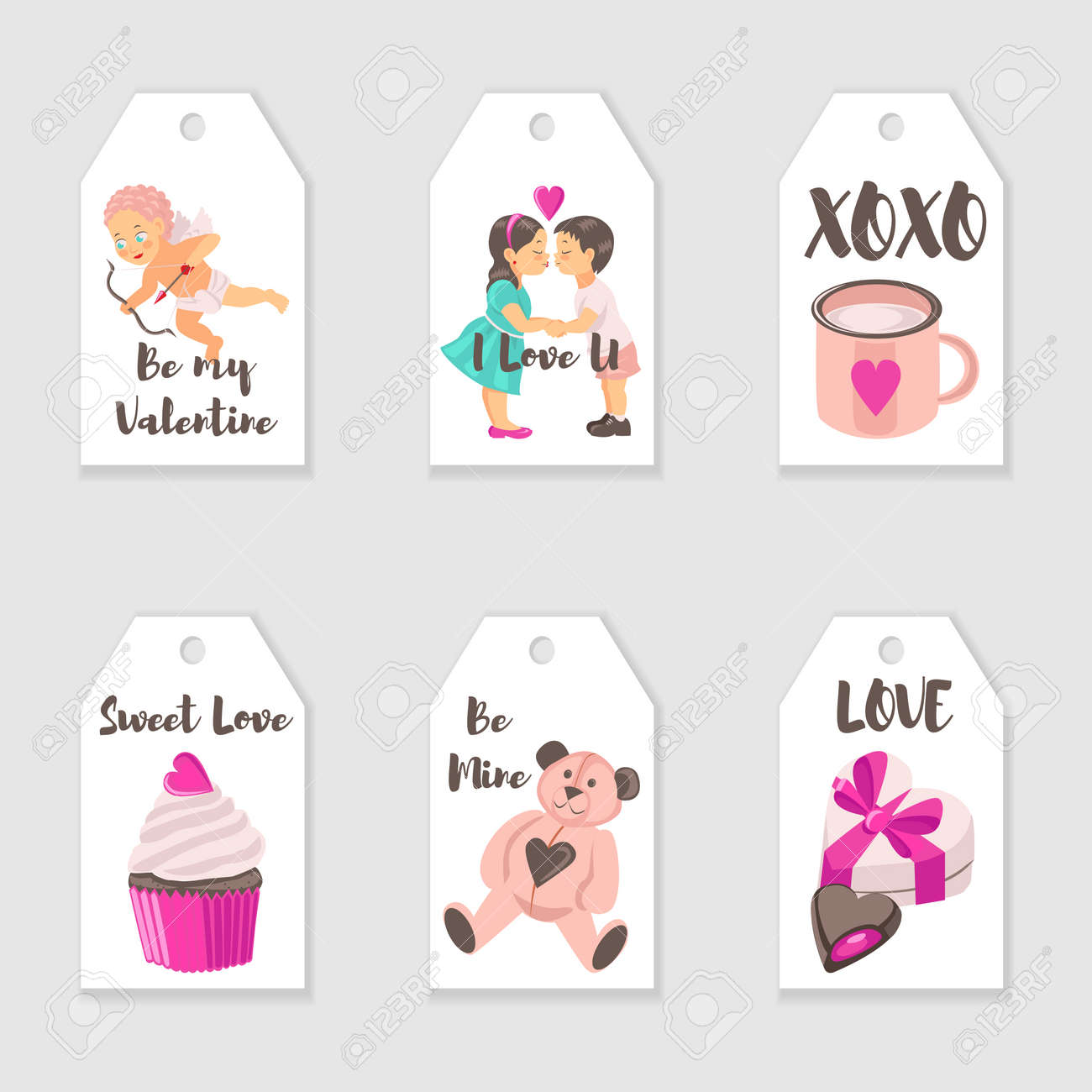 Vector Valentine S Day Tags Templates Romantic Gift Tags Labels